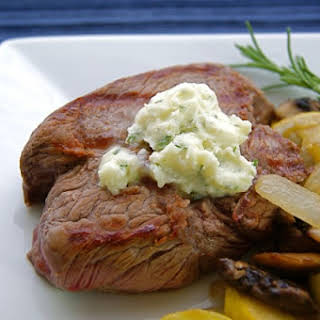 Grilled Bison with Rosemary Garlic Butter.