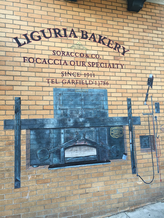 The facade outside of the Liguria Bakery.