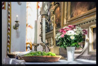 Photo: Weintrauben, Brot und Blumen auf dem Altar der Stadtkirche St. Laurentius und Katharina in Schönberg