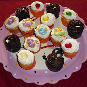 Festive cupcakes by Annalie Coetzer - Food & Drink Cooking & Baking ( cake, cherry, sweet, cupcakes, icing, confectionary, pink, cookies, sugar,  )