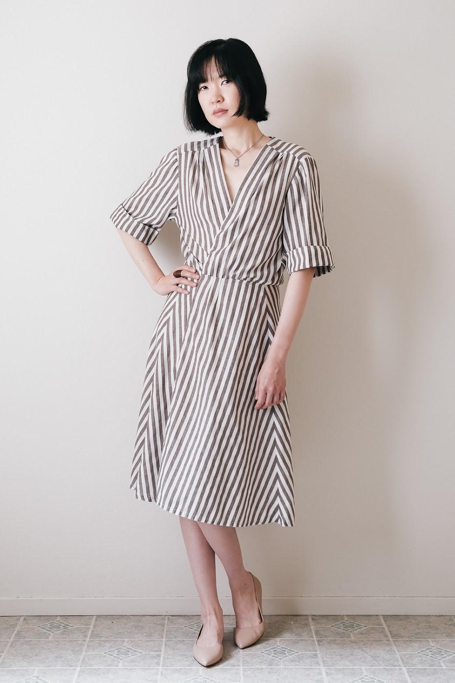 Striped Wrap Dress Refashion - DIY Fashion Garments   fafafoom.com