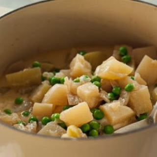 Creamy Braised Turnips and Kohlrabi with Peas