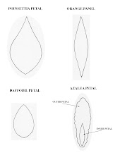 Photo: Patterns for poinsettia petal, orange panel, daffodil petal, and azalea petal (inner and outer).