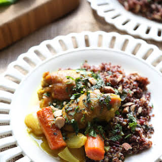 Baked Moroccan Chicken Thighs with Carrots.