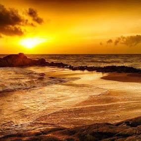 Warm by Deep Ocean - Landscapes Sunsets & Sunrises ( sand, nature, sunset, sea, seascape, beach, rocks, natural,  )