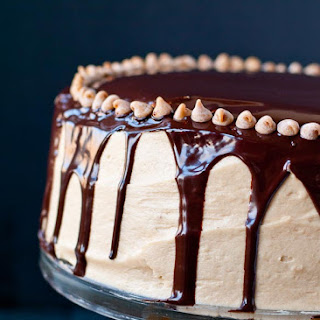 4 Layer Chocolate Brownie Cake with Peanut Butter Frosting and Chocolate Ganache.