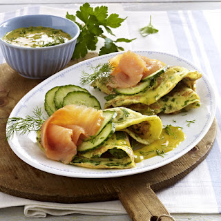 Herb Pancakes with Smoked Salmon, Dill and Mustard Sauce