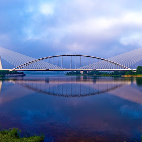 Seri Saujana Bridge, Putrajaya by Fadly Hj Halim - Landscapes Waterscapes ( clouds, reflection, bridge, morning )