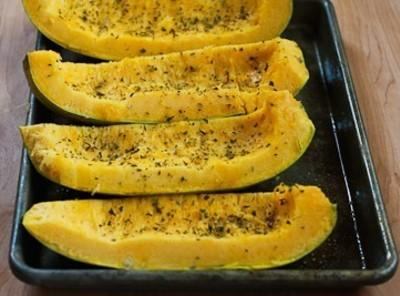 BE Careful when cutting Spaghetti Squash in equal  Quarters lengthwise!Secure a sheet pan,and...