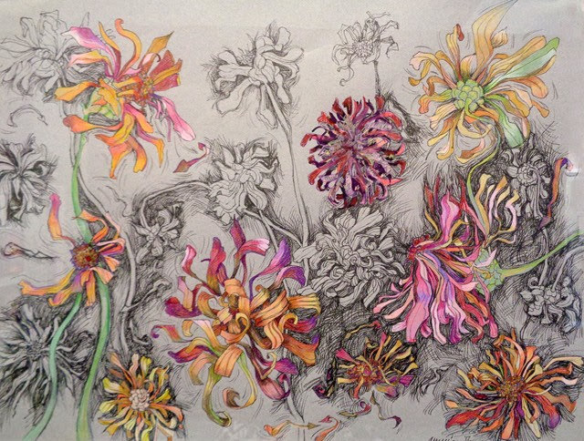 Dance of the Dead Zinnias by Annie Sceumbauer