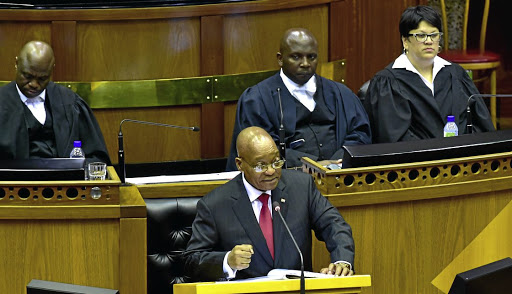 Optimistic: President Jacob Zuma delivering the state of the nation address at the National Assembly in Cape Town on Thursday. He says the economy is expected to grow 1.3% in 2017 and SA had entered a period of recovery. Picture: KOPANO TLAPE GCIS