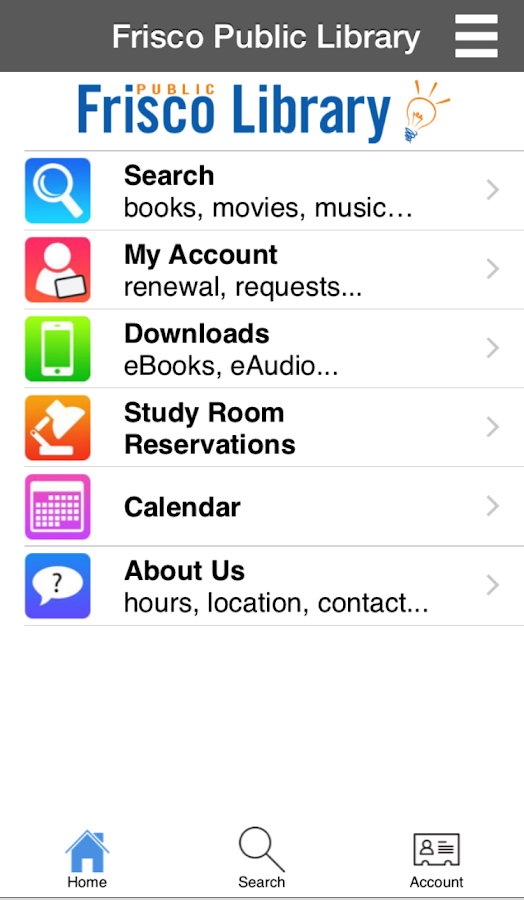 Frisco Public Library- screenshot