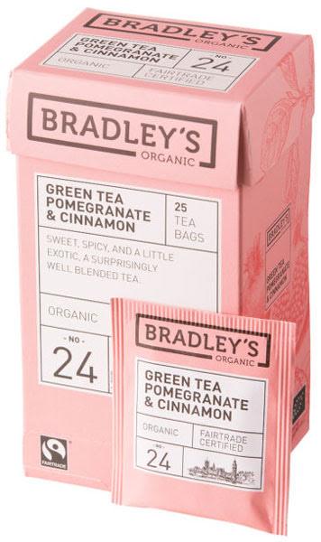 Grönt te smaksatt med granatäpple och kanel – Bradley´s