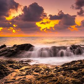 Unforgiven by Theodoros Theodorou - Landscapes Sunsets & Sunrises ( sea rocks, water, orange, sea water, 16mm f1.4 r wr, waterscape, waves, x-t1, sea, ocean, fujinon, seascape, landscape, cyprus, sunset, fujifilm, long exposure, sunset colors, wild sea, rocks, golden, golden hour,  )