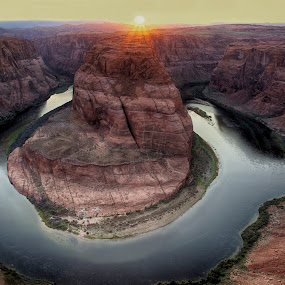 The majestic Horseshoe Bend by Tin Tin Abad - Landscapes Mountains & Hills ( water, hills, mountain, sunset, night, travel, rocks, hike )