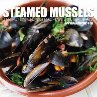 Steamed Mussels with Serrano Ham, Onion, Garlic & Pimenton