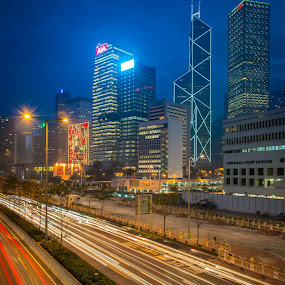 HK cityscape by Natapong Paopijit - Buildings & Architecture Office Buildings & Hotels ( urban, building, twilight, hk, skycrapers, night, architecture, cityscape, light, business, city )