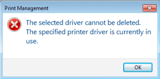 The selected driver cannot be deleted.