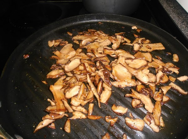 in that same skillet, sautee mushrooms until golden brown.  remove from skillet