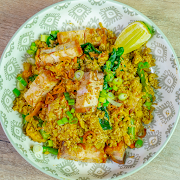 [Keto] Curry Fried Rice-Crispy Pork