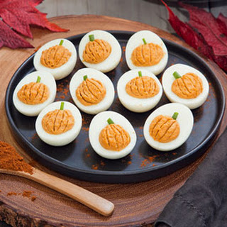 Chipotle Pumpkin Deviled Eggs.