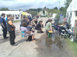 Photo: crowd gathering before chaos-radio (not safe for work) production in tent