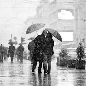 Love by Miljan Sucur - City,  Street & Park  Street Scenes ( love, kiss, winter, people, snowing )
