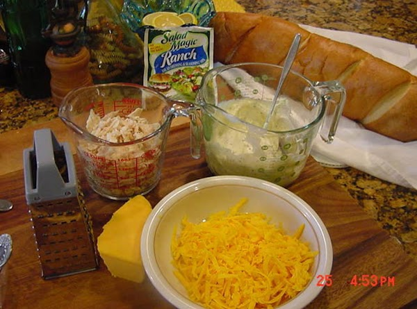Assemble all the ingredients, and grate the cheese.  Reserve 1/4 cup for topping.