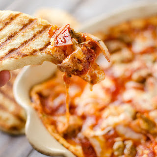 Triple Meat & Cheese Pizza Dip with Grilled Crust Dippers