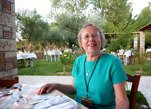 Photo: Dinner in the rose garden of our hotel in Olympia.