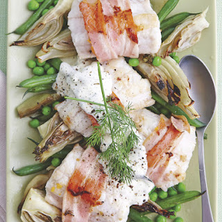Bacon-Wrapped Fish with Dill Cream.