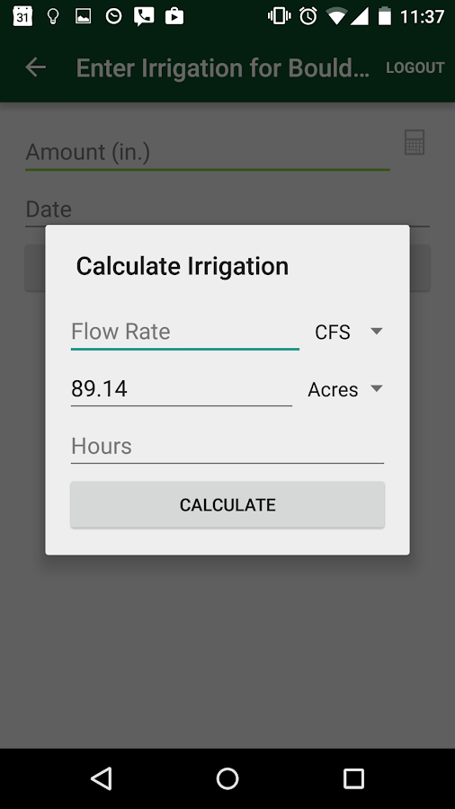 WISE Irrigation Scheduler- screenshot
