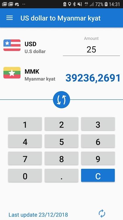 Us Dollar To Myanmar Kyat Usd Mmk
