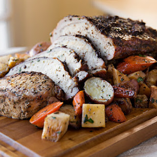 Garlic-Crusted Roasted Pork Loin with Glazed Wintery Root Vegetables