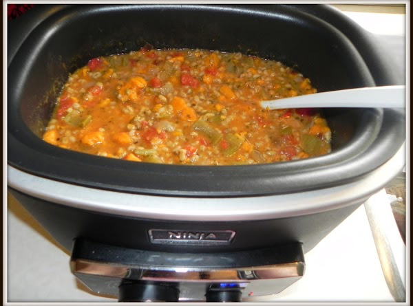 Stir in your potatoes, spices, tomatoes & barley. Set to SLOW COOK HIGH FOR...
