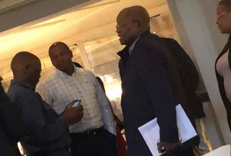 Ace Magashule, Supra Mahumapelo and Jacob Zuma at the hotel where they were alleged to have met.