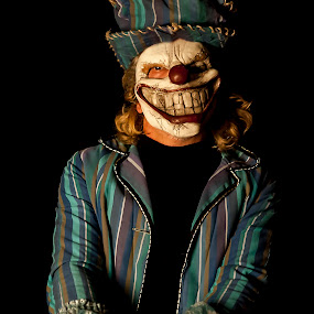 AM I TOO LATE FOR THE HALLOWEEN PARTY ? by Russell Mander - People Portraits of Men ( halloween, big smile, teeth, scary )