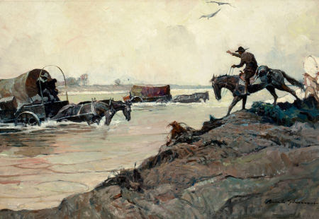 "Photo: Frank Earle Schoonover Oklahoma, Illustration for Country Gentleman Magazine, 1926 Oil on canvas 24"" x 36"" http://fineart.ha.com/c/item.zx?saleNo=5087&lotNo=78359"