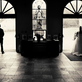 Waiting by Joseph Humphries - Wedding Bride & Groom ( blackandwhite, b&w, doorway, church, wedding, waiting, brideandgroom,  )