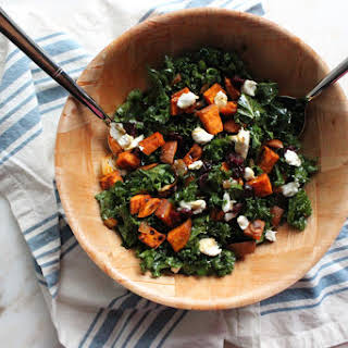 Roasted Sweet Potato and Kale Salad with Goat Cheese.