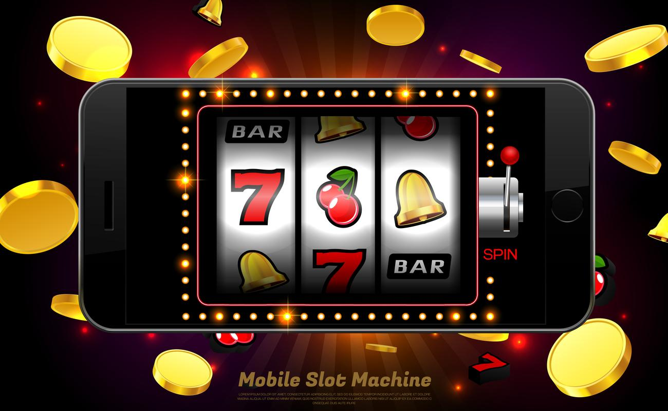 Lucky slot machine game on mobile phone vector illustration
