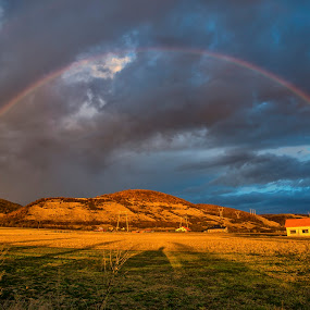 Rainbow at the sunset by Stefan Sorean - Landscapes Mountains & Hills ( art, green, color, shape, nature, concept, bright, yellow, abstract, decorative, creative, rainbow, blue, light, background, design, illustration, style, decoration, graphic, colorful, element )