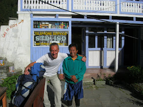 Photo: We bid farewell to Tommaso in Tamang (2600 metres). While Tommaso was planning to go all the way to Pisang in one day, we decided to have an easy day to Chame so Lyngve could recover from his illness (a bad cold with high fever).