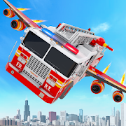 Flying Firefighter Truck Transform Robot Games