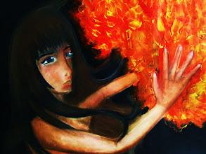 "Photo: ""Fireball"", format raisin, pastels sec et acrylique, 2010, L1 Art Plastique"