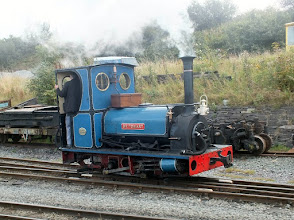 "Photo: 012 ""Britomart"", one of the earlier pattern of quarry Hunslets locos, with a domeless boiler. In my own opinion, this little loco, in its lined blue livery with crimson lake frames is one of the most handsome of the many quarry Hunslet locos that have survived into preservation ."