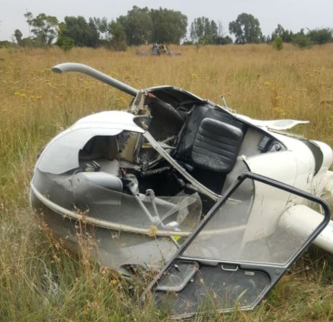 A helicopter that crashed near Swartkoppies Road in Brackendowns' south of Johannesburg.