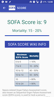 ... Sepsis Score: SOFA Calculator- screenshot thumbnail ...