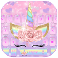 Pink Flower Unicorn Keyboard Theme download