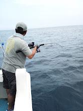 """Photo: 最近、大物ばかり釣っている""""コモリさん""""がうちの船でもヒット!"""
